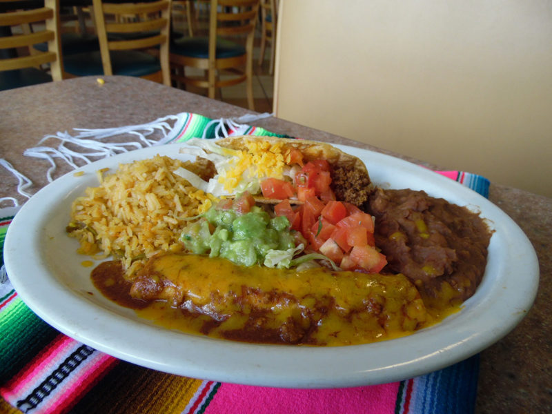 Choose two of the following served with rice, refried beans, lettuce and tomatoes